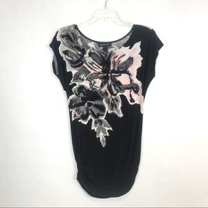 🌟3/$30🌟 Floral Top Tunic Rhinestone Cap Sleeve